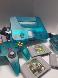 Nintendo 64 Konsole Clear-Blue + 2 Controller + 4 Spiele TOP